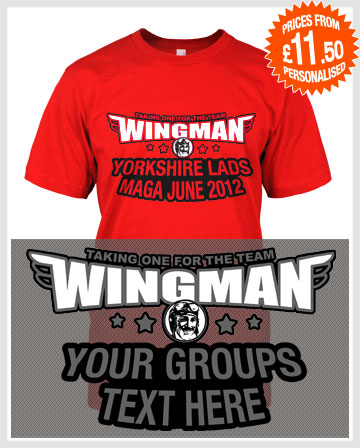 wingman lads holiday or stag t-shirts